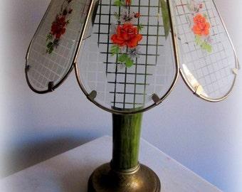 Vintage Glass 70s Lamp Shade Orange White Floral Roses 13 x 11