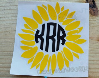 Personalized monogram sunflower,  decal for car, decal for laptop, sunflower love, yellow sunflower, FAST SHIPPING