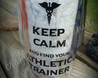 Athletic trainer. Sports medicine, athletic tumbler, sports tumbler, athletics, football, basketball, baseball, tumbler