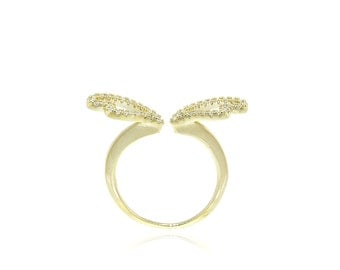 925 Sterling Silver Gold Angel Wing Ring 0.22 CT.TW (S30)