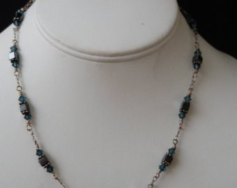 Hematite Beaded Sterling Silver Necklace