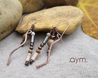 SALE earthy beaded dangle earrings, natural stone and copper artisan earrings, unique neutral brown drop earrings, gift for her, mom gift
