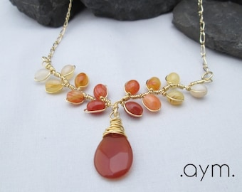 SALE red agate necklace,unique red orange yellow ombre statement bib necklace, red gold artisan wire wrapped branches of fire art necklace