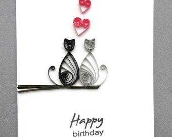 Cat Birthday Card, Happy Birthday Card, Paper Quilling Card, Quilled Card, Cat Love Birthday Card, Blank Birthday Card, Cat Card, Cat Love