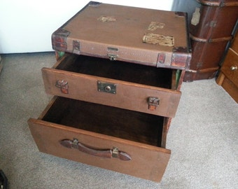 Vintage Travel Trunk Side Table with two drawers