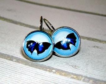 Long earrings with butterfly blue