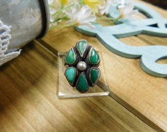 Vintage Silver Green Turquoise Cluster Ring