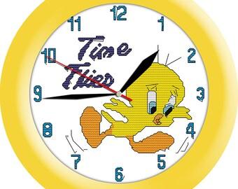 Printed Cross stitch clock kit Time DMC threads
