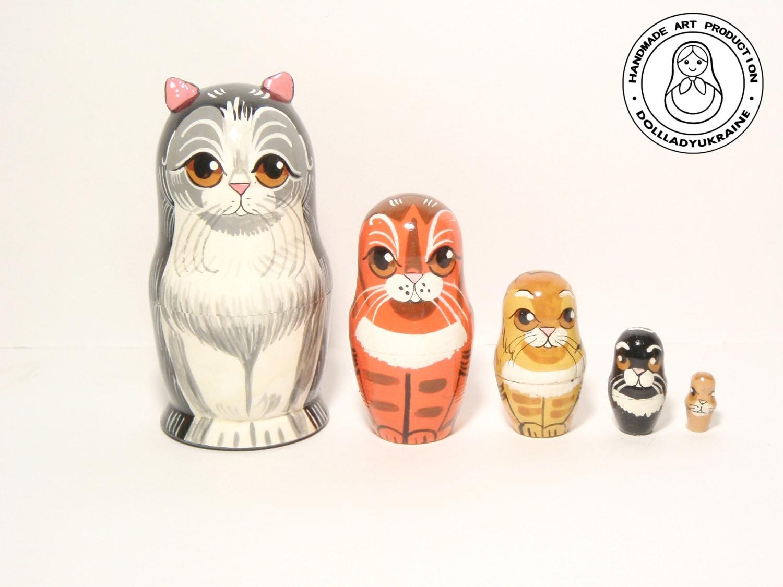 happy cat family nesting dolls 5pcs gift for mom kids gift