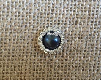 Black Pearl Rhinestone Embellishment- 16mm- Rhinestone Pearl Flatback- Rhinestone for Headband, Craft Embellishment-Wholesale