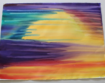 Abstract Sunset Watercolour