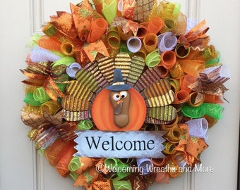Fall Wreath, Thanksgiving Wreath, Fall Welcome Wreath, Turkey Wreath, Fall Mesh Wreath, Turkey Mesh Wreath, Autumn Wreath