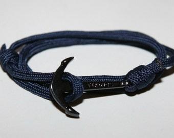 Black rope anchor bracelet sailor