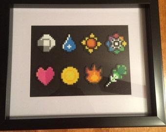 Framed Kanto Pokemon Bagdges