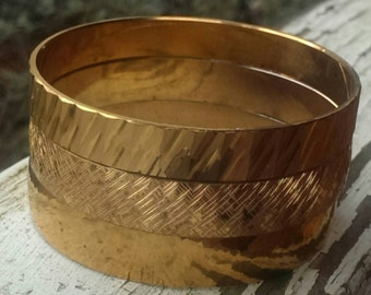 Golden Bangle Bracelet Trio Vintage
