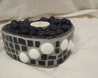 Blue and White Heart Mosaic Candle Holder