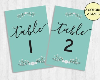 Wedding Table Numbers Printable, Table Number Signs, Teal and Blue Bundle, Floral Numbered Event Prints