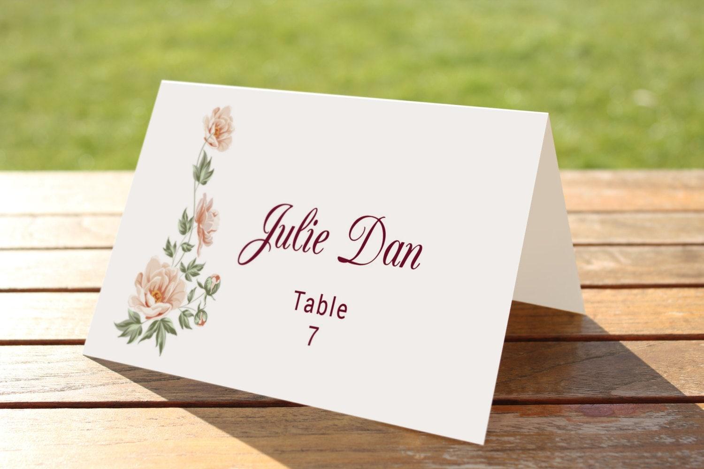 printable wedding place cards template printable name card