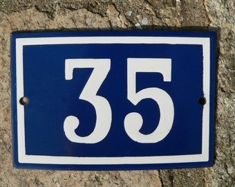 Vintage French dark blue and white enamel house or gate number 35 - No 35.