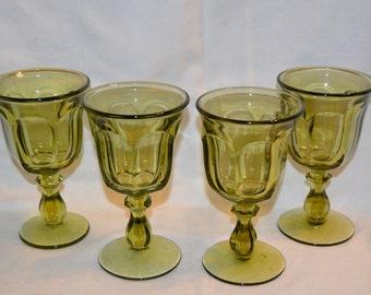Imperial Old Williamsburg Verde Green Panel Water 8 oz. Goblets Set of 4 Vintage Item #2160