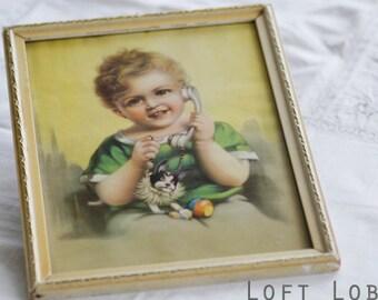 Vintage 1950s Framed Print of little girl on the telephone