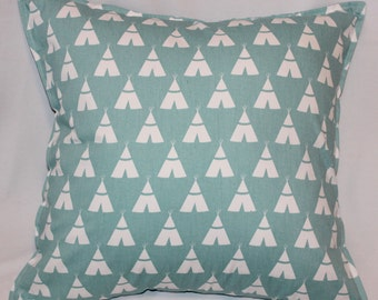 "Pastel Blue Tipi Pillow Cover - 20"" x 20"" with Stitched Border"