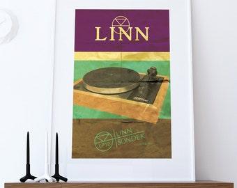 Linn Sondek LP12 Audiophile Turntable Poster Original Illustration Vintage Style Giclee Print Cotton Canvas Paper Canvas Poster Wall Decor
