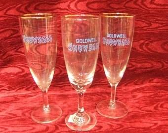 Three  Vintage 1950s/60s Snowball Drinking Glasses