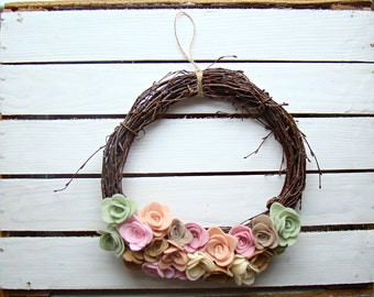 Easter wreath, spring wreath, Easter decor, felt wreath, flower wreath, shabby chic wreath, wedding wreath, wedding decor, rose wreath