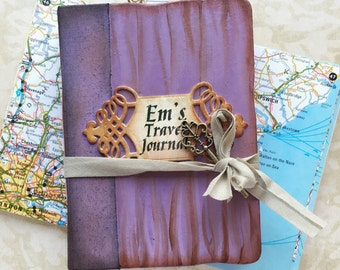 Personalized Travel journal, handmade book, Lilac Memory journal, journal