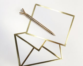 Blank White Card with Gold Foil Bordered Envelope