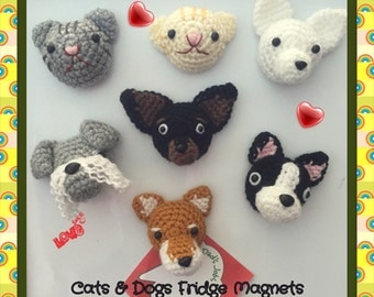 Amigurumi crochet : Fridge & white board magnet. Dogs / cats  Made To Order
