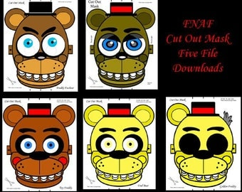 """Mask, FNAF, Party Favors, Birthday, Parties, Halloween, Fun time, Print, Cut Out, Add String, High Quality, 8""""x11"""" @ 150 PPI PDFs, 5 total"""