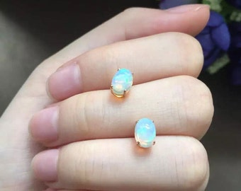 18k gold natural opal earrings, gold stud earrings