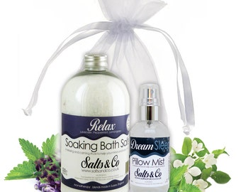 Relax and Dream - Aromatherapy Bath Salts +  Pillow Spray Mist Gift Set - Lavender, Peppermint, Lemongrass ,Ylang Ylang, Rose