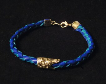 Blue and Turquoise Round Leather Summer Bracelet with Crocodile Head Gift for Her gift for Him Braided