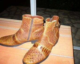 Boots of man. Ostrich skin.