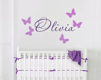 Name Wall Decal- Butterfly Decals - Nursery Wall Decals - Girl's Name Wall Decals - kids Wall Decals - Wall Decals-Girls Nursery Decals