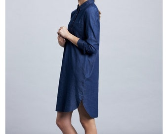 Women Dress , Buttoned Dress, Shirt Dress, Denim shirt dress, Long Sleeves Dress, Navy shirt dress, oversized dress, Blue shirt dress