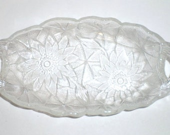 Vintage Floral-Patterned Pressed Glass Relish/Nut Dish from the 1960s