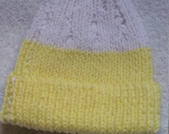 Yellow and White Child's Snow Hat