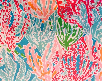 LETS CHA CHA Fabric 18x18 or 18x9 Lilly  2014 Coral