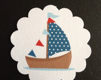 Set of 30 Red White & Blue Sailboat Nautical Favor Treat Tags