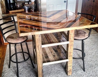 Chevron Pub Table [SOLD] - page is NOT intended for selling online, only to share work & reach local buyers