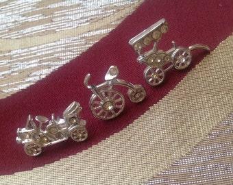 Set of 3 Vintage Lapel Pins. Clutch Backs. Sparkles.