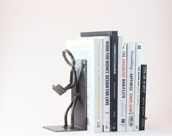 Reading Bookends | Two Reading Stick Figure Bookends | Custom built | FREE SHIPPING