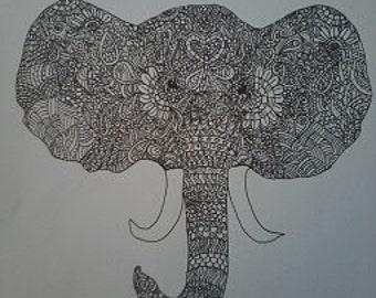 Zentangle Elephant A4 Art Print