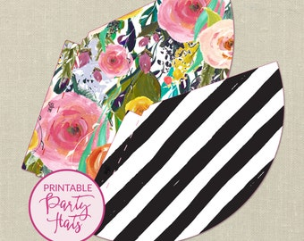 Printable Party Hats--Black and White Stripes, Floral