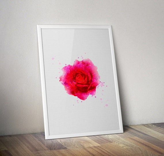 red rose minimalist poster housewarming gift by helenprint