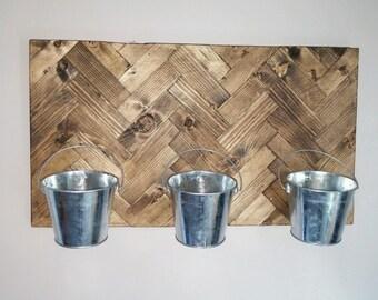 Reclaimed wood herring bone platter/hanging rack